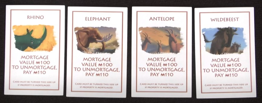 Cartes des animaux (qui remplacent les gares) du Monopoly The Lion King