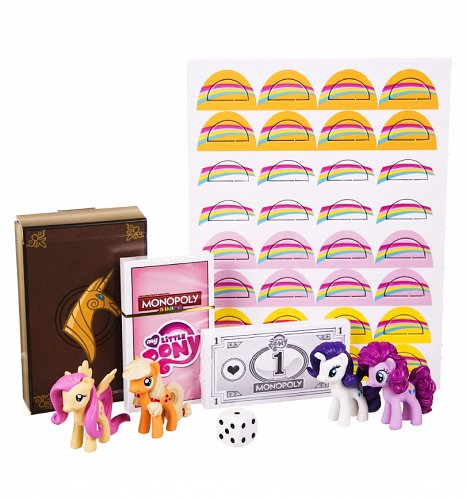 Contenu de la boîte du Monopoly Junior - My Little Pony
