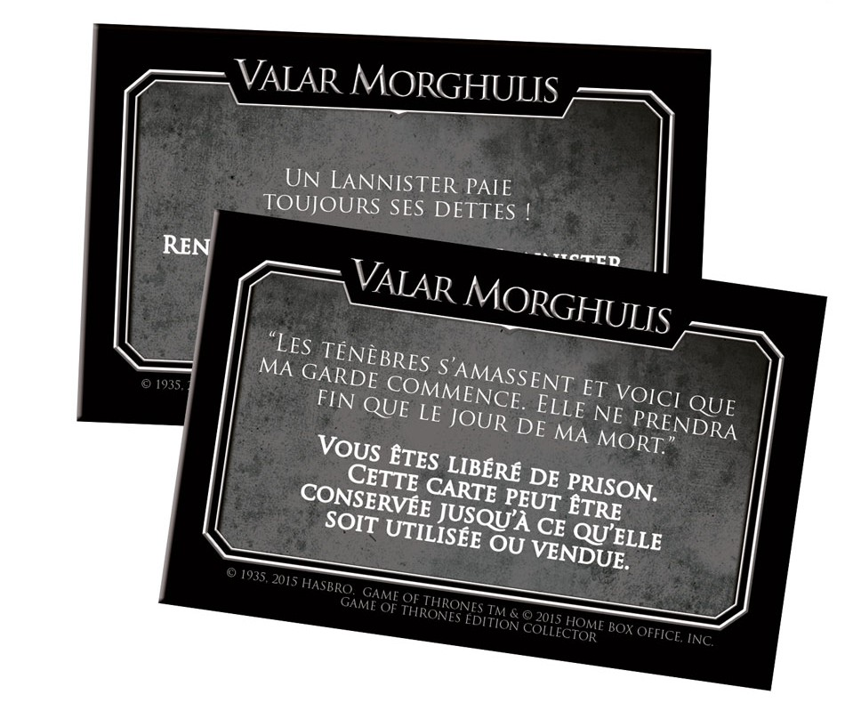 Carte caisse de communauté du Monopoly Game of Thrones