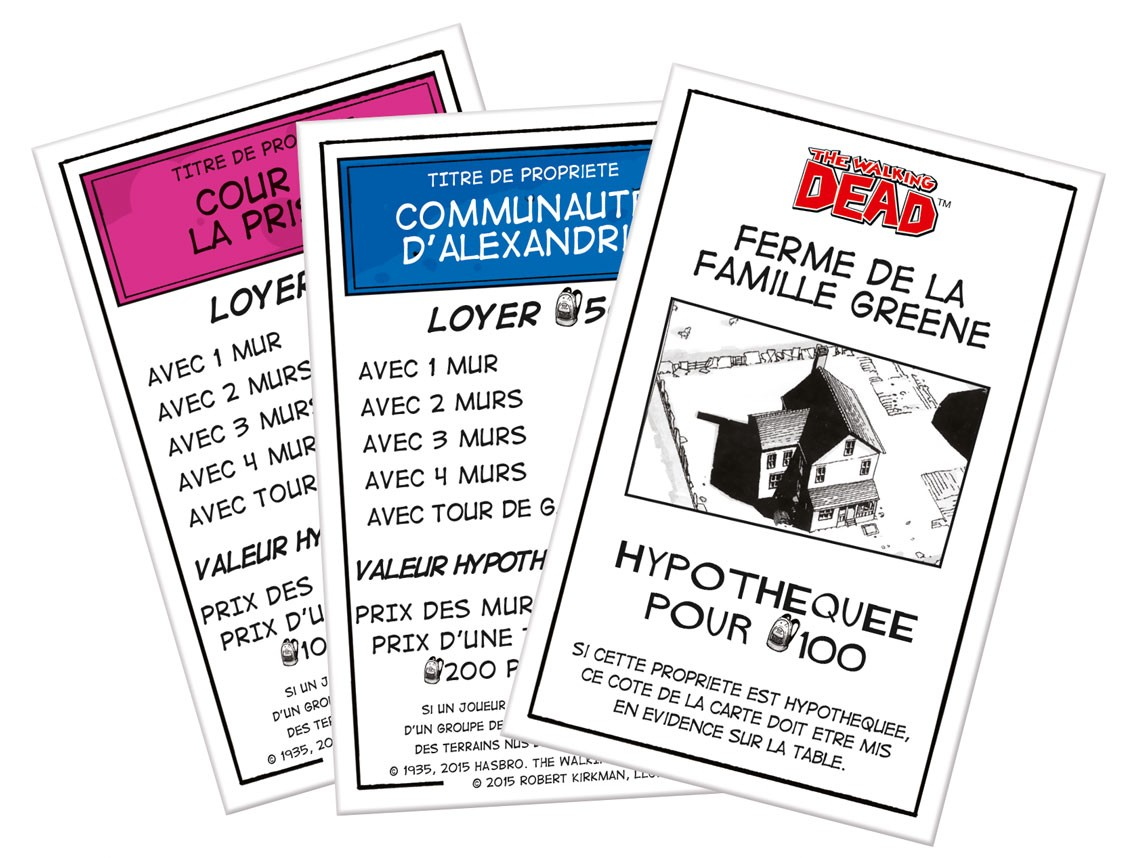 Titre de propriété du Monopoly The Walking Dead