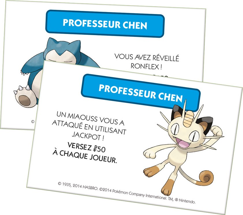 Carte chance du Monopoly Pokemon - Édition de Kanto